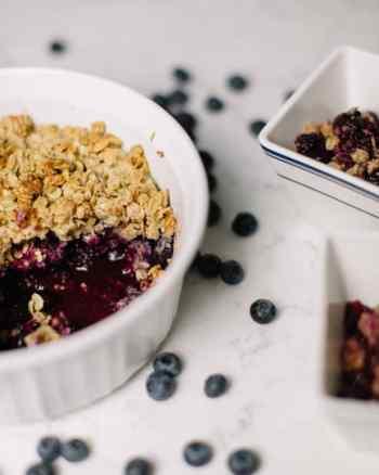 gluten free berry crisp in bowl