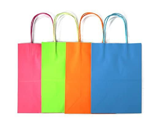 various colors of paper gift bags