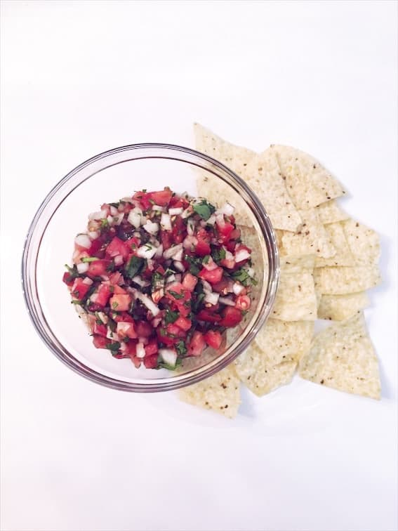 easy pico de allow recipe in bowl with chips