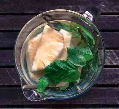pineapple and mint in water