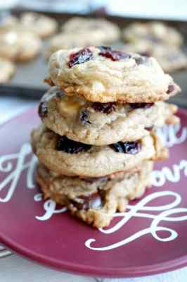 double chocolate chip cranberry cookies on plate
