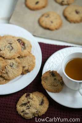 cranberry walnut cookies with cup of tea