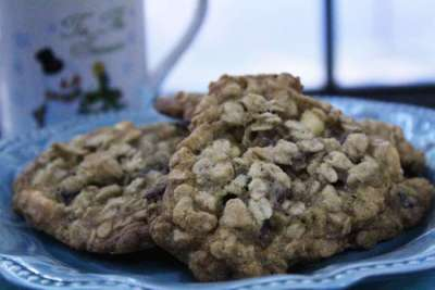 cranberry white chocolate chip oatmeal cookies on plate