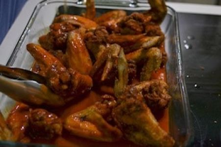 buffalo wings recipe with wings tossed in hot wing sauce