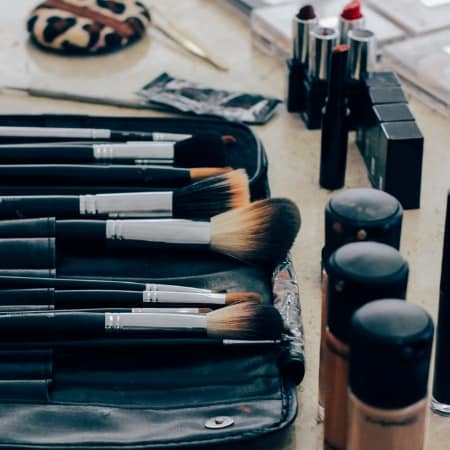 how to organize makeup with makeup on counter