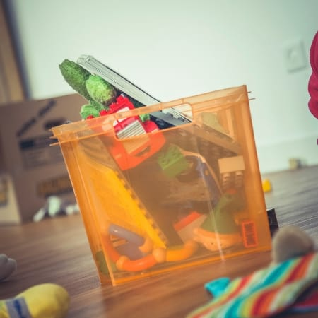 how to declutter toys with box of toys