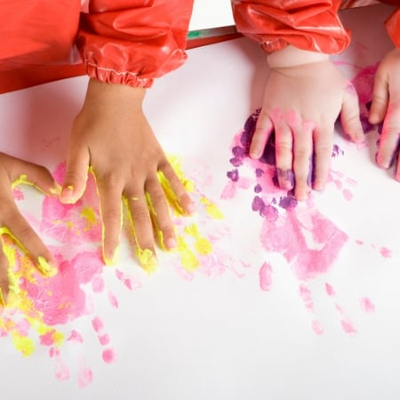 how to declutter sentimental items with kids handprint artwork
