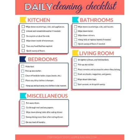 image relating to Printable House Cleaning Checklist Pdf called Each day Cleansing List - Free of charge Printable PDF