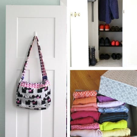 DIY closet organization on a budget with big bag, shoe rack, and clothing storage box