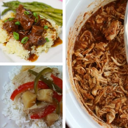 easy make ahead freezer meal recipes for busy nights with beef dish, sweet and sour chicken, and pulled chicken