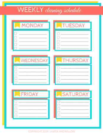 editable weekly cleaning schedule template