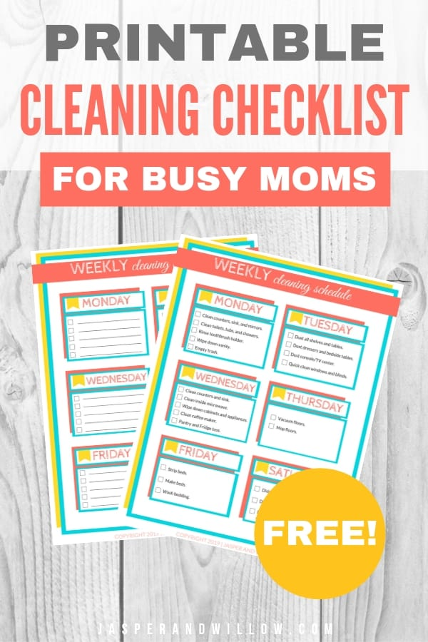 image about Printable Cleaning Schedule for Working Moms titled Uncomplicated Weekly Cleansing Routine For Active Mothers - Printable