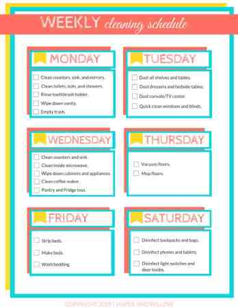 weekly cleaning schedule printable checklist