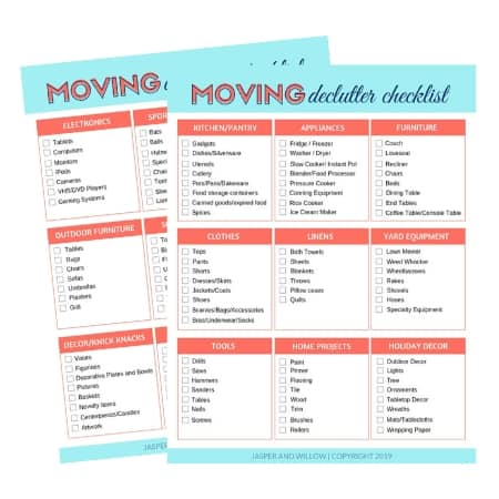 declutter before moving checklist printable pdf