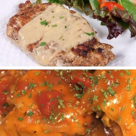 gluten free freezer meal ideas with smothered pork chops and barbecue chicken