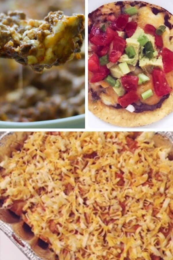 gluten free mexican food freezer meal ideas with taco casserole, tostadas, and enchiladas