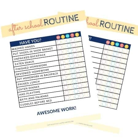 after school routine printable chart