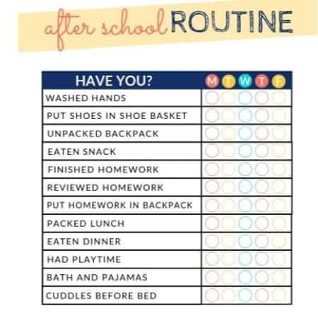 after school printable checklist