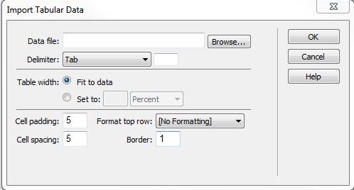 Dreamweaver Data Import Tabular form window