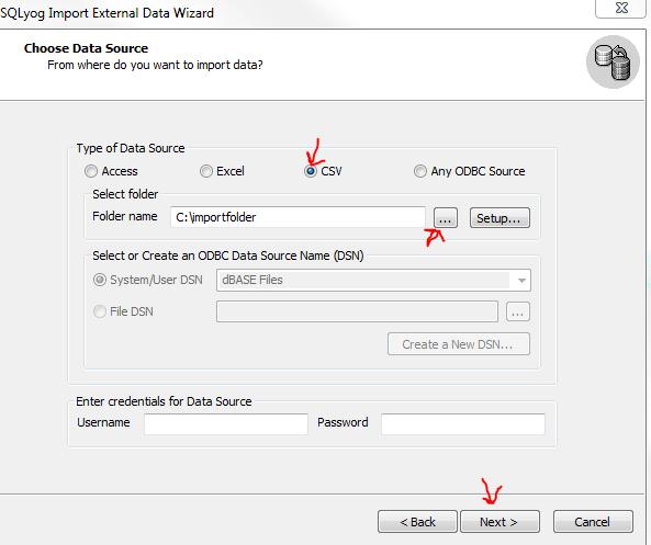 SQLYog import csv step 2