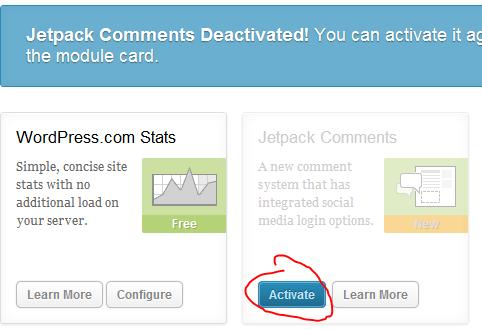 jetpack deactivate message