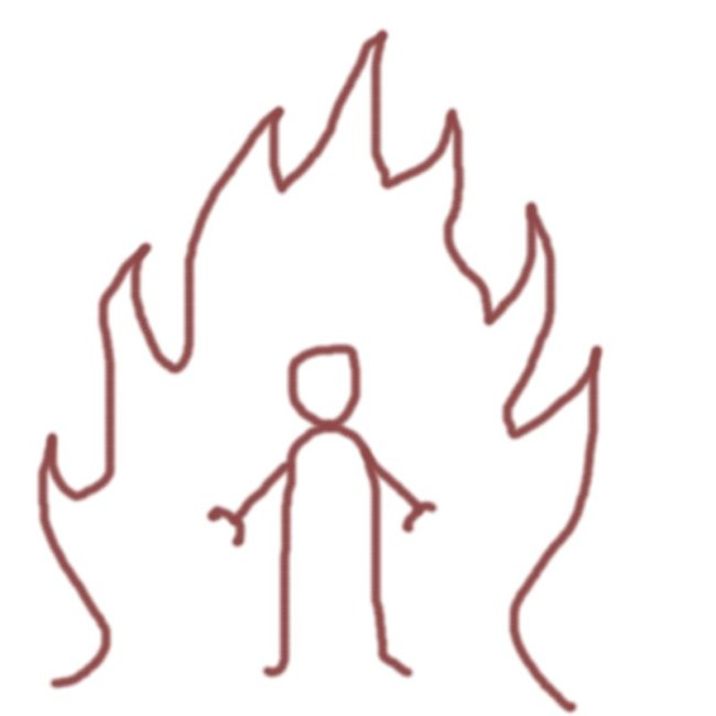 Symboltecking. Mänsklig figur i eld.