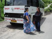 Evelina talking with a Indian lady