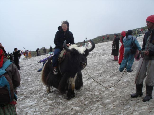 Evelina riding a yak