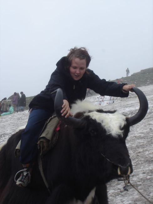 Evelina riding a yak