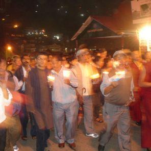 Demonstration in Shimla, candlelight's