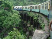A railway bridge in a bend. Shimla Toy Train