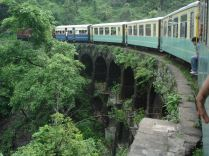 A railway bridge in a bend. Shimla Toy Train
