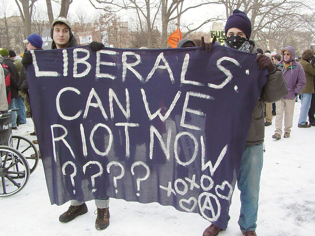 Black bloc demonstrators at Malcolm X Park during the January 20, 2005 counter-inaugural protest. Photo taken January 20, 2005 by Ben Schumin.