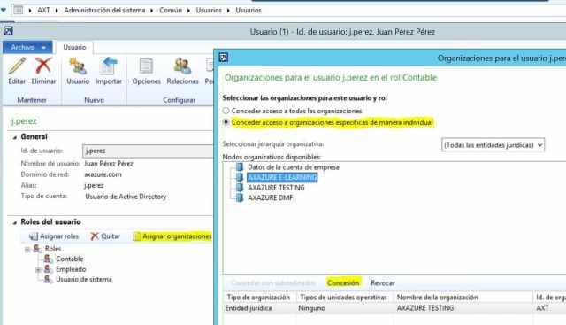 Asignar organizaciones a roles de usuario microsoft dynamics ax 2012 r3