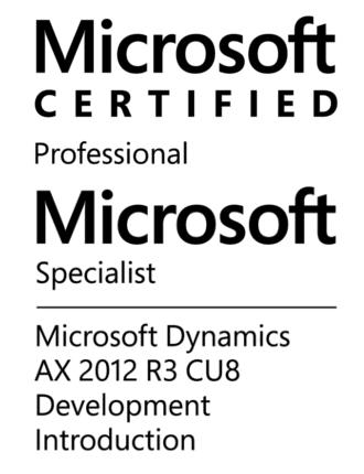 Microsoft Certified Professional - Microsoft Specialist - Microsoft Dynamics AX 2012 R3 CU8 Development Introduction