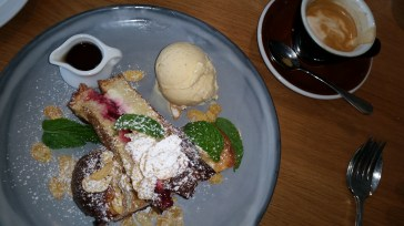 Cranberry french toast, with ice cream
