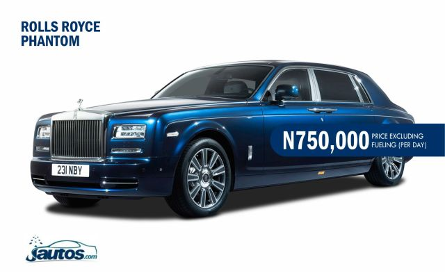 ROLLS ROYCE PHANTOM- N750,000 (AMOUNT PER DAY WITHOUT FUELING)