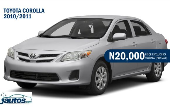 Toyota Corolla 2010/2011- N18,000 (AMOUNT PER DAY WITHOUT FUELING