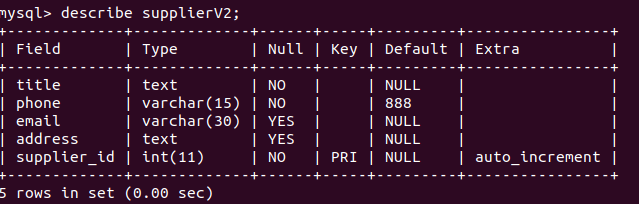 field not null in table