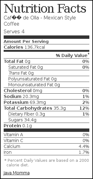 Nutrition label for Café de Olla - Mexican Style Coffee