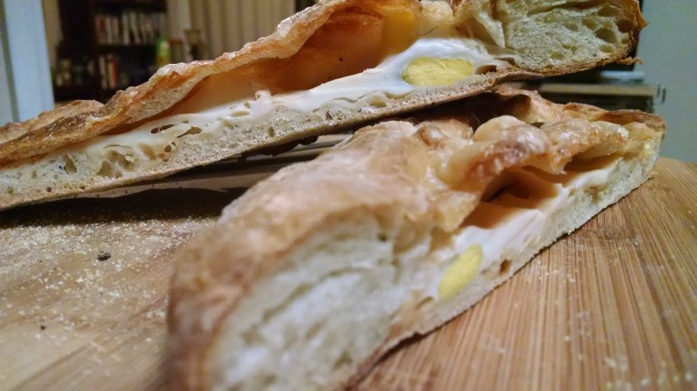 Egg and cheese stuffed bread