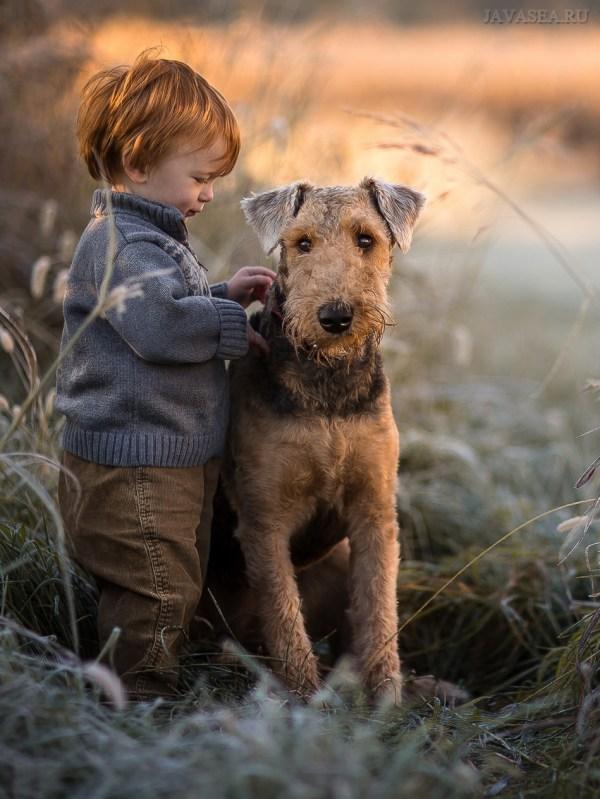 Скачать картинку Мальчик с собакой у пруда бесплатно