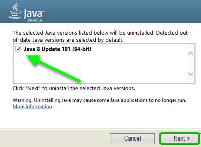 Java нұсқасын таңдау