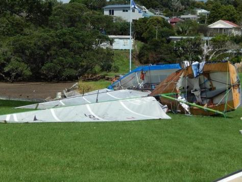 Comfortable rigging at the Whangarei Crusing Club Centreboard Base - 2016 Sanders Cup © Ruth WCC