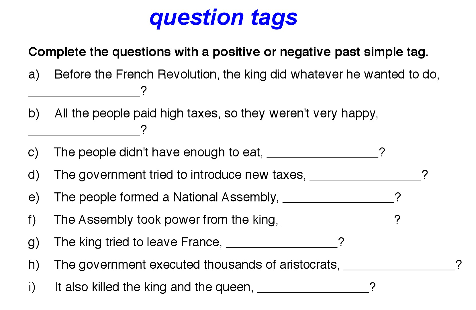 B1 Question Tags Activities 1