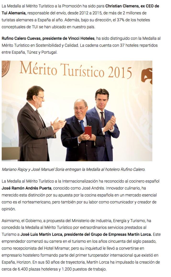 """""""Rajoy entrega las Medallas y Placas al Mérito Turístico"""""""
