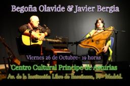 """Javier Bergia & Begoña Olavide en concierto """" A los Poetas, Burlesco, otras Hierbas…"""""""
