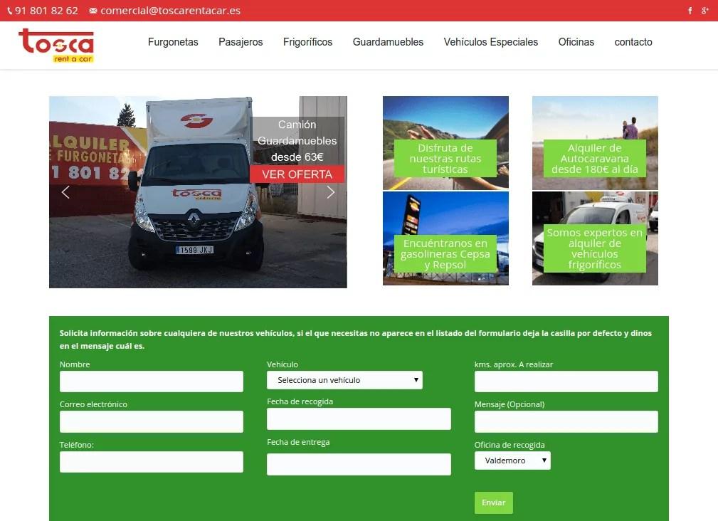 Diseño de página web alquiler de vehículos