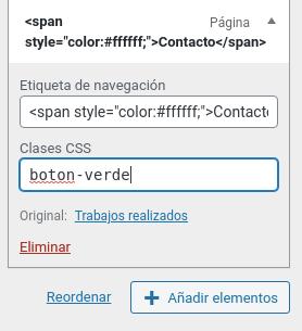 Cambiar el color de un elemento del menú en WordPress Personalizador