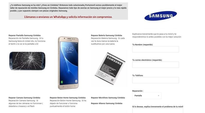 Diseño web en Córdoba Samsung